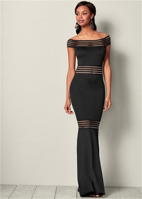 Платье Mesh Detail Long - фото 4557